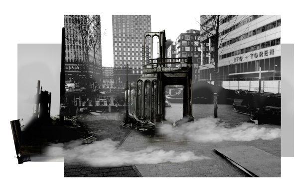 James Beckett, Palace Ruin, schets voor Gustav Mahlerplein, 2016
